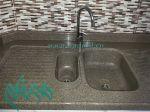 سنگ کابینت پلیمری|سنگ کورین با سینک ظرفشویی گرانیتی