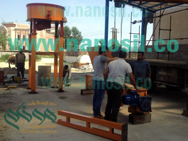 Installation of a semi-automatic production line of artificial stone - Polymeric mosaic nano-cement plast